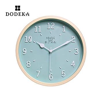 WXIN Las Habitaciones Son Silenciosas Relojes Del Posicionador Digital Grande Reloj De Pared De Madera Mesa De Luz Azul De 10 Pulgadas: Amazon.es: Hogar