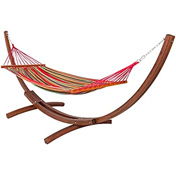 best choiceproducts wooden curved arc hammock stand with cotton hammock outdoor garden patio