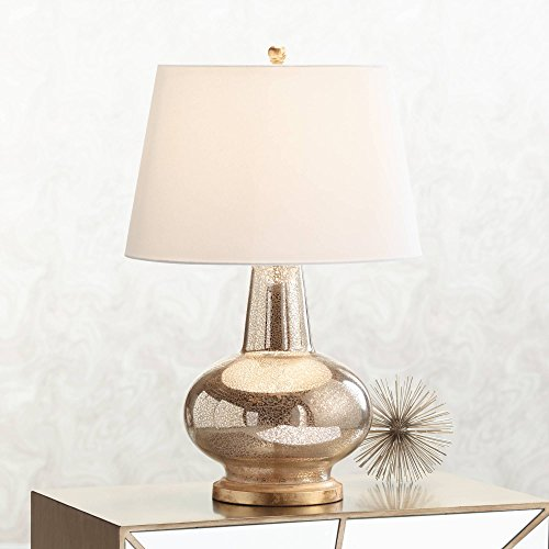 Errol Modern Table Lamp Mercury Glass Gourd Tapered Drum Shade for Living Room Family Bedroom Bedside Nightstand - Possini Euro Design