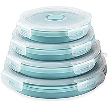 CARTINTS Silicone Collapsible Food Storage Containers-Prep/Storage Bowls with Lids - Set of 4 Round Silicone Lunch Containers- BPA Free, Microwave and Freezer Safe (Blue)