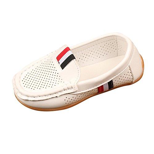 Shusuen Toddler Little Kid Boys Girls Soft Slip On Loafers Dress Flat Shoes White