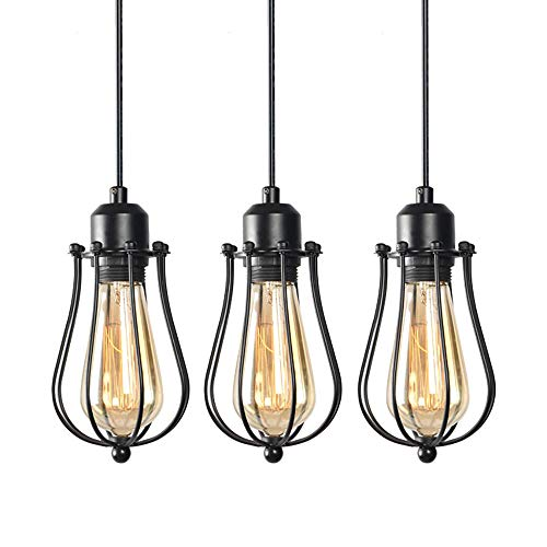 WINSOON 3 Light Cage Pendant Lighting industrial Chandelier Fixture for Kitchen Island