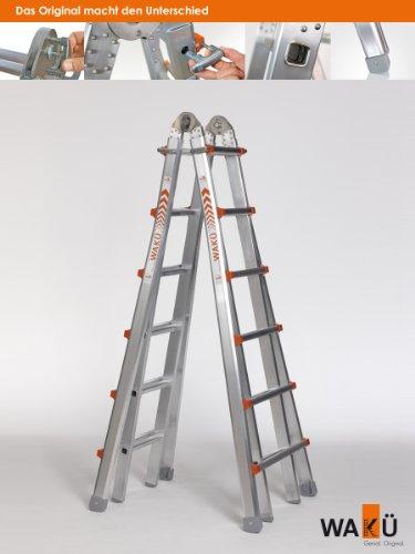 WAKÜ Teleskopleiter 1,85 m - 6,40 m - höhenverstellbar als Anlegeleiter, Bockleiter und Treppenleiter