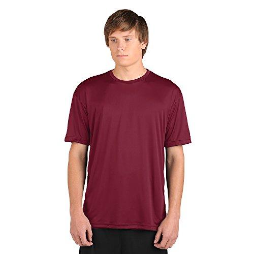 WSI Microtech Camisa holgada de manga corta, rojo cardenal, talla grande para jóvenes