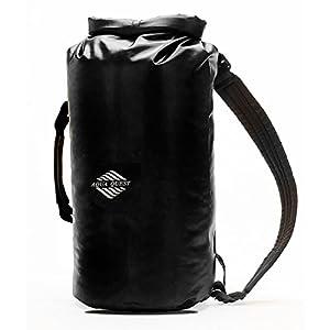 20L Waterproof Dry Bag Backpack - Aqua Quest Mariner 20 Black - Roll Top Kayaking Boat Bag, Adjustable fit for Men & Women