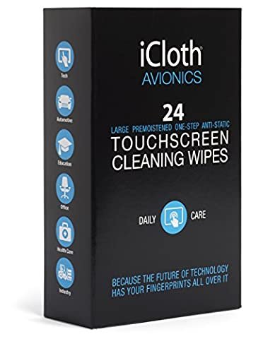 iCloth Large Screen Cleaning Wipes - cleans and protects a computer monitor, a gaming PC a touchscreen desktop, a TV LED or LCD, aviation and automotive displays | iCA24 | 24 wipe (Bar Speakers For Tv Boss)
