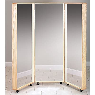 "60"" x 70"" Mobile Tri-Panel Mirror - CL-6223 - Three 1/4"" thick distortion-free glass mirror with ANSI 297 safety backing Hardwood, plywood frame Rolls easily on 3"" swivel casters - mirrors-bedroom-decor, bedroom-decor, bedroom - 41L6P8%2BbmaL. SS400  -"