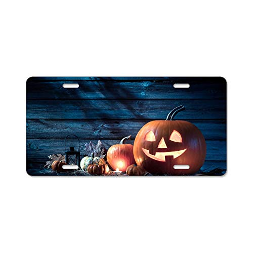Zogpemsy Engravers Chrome Personalized Laser Printed License Plate Frame Holiday Halloween 31 October Pumpkin Host License Plate Covers]()