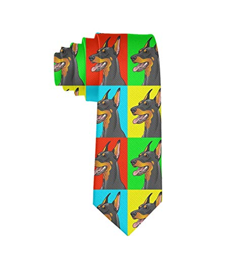 Men's Fashion Polyester Textile Necktie Extra Long Doberman Pinscher Dogs Tie For Office Wedding Dances Party Groom Groomsmen ()
