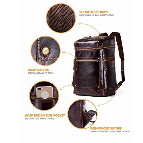 Viaje Genuino color Bookbag Escolar La Tsutou Cuero Revista Mochila Coffee Coffee Para Hombres Retro De 4wqnnZY7I