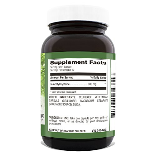Natural Nutra N Acetyl L Cysteine (NAC) Amino Acid Supplement, 600 mg, 60 Capsules