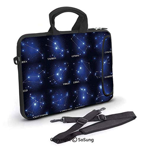 14 inch Laptop Case,Zodiac Sign Set Symbols and Names Group of Stars Cluster Esoteric Neoprene Laptop Shoulder Bag Sleeve Case with Handle and Carrying & External Side Pocket,for Netbook/MacBook Air P -