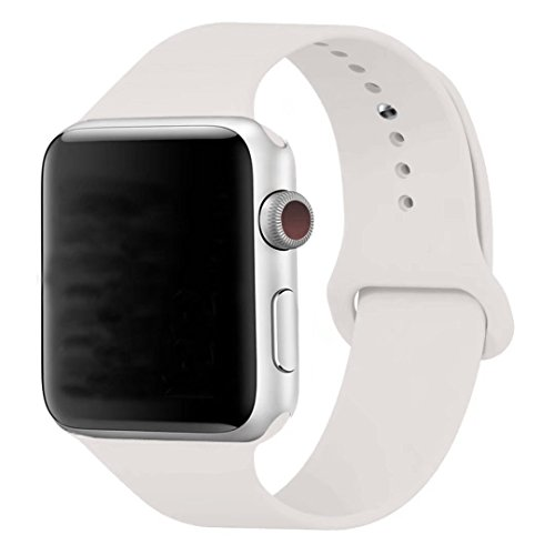 MOTEEV Band for 38mm Apple Watch,Soft Silicone Sport Band [3 Pieces for 2 Lengths] Large/Small Wrist Strap Replacement for Apple Watch 1 2 3 All Models 38mm - Soft White by MOTEEV