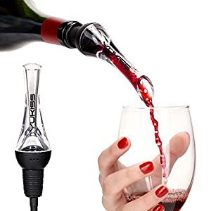 YoKis Wine Aerator Premium Wine Decanter Pourer and Breather Excellent for Whiskey, Red Wine - Wine Dispenser and Spout - Gift Set for Him and Her