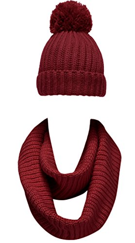 NEOSAN Women Winter Thick Knit Infinity Loop Scarf And Pom Pom Hat Set,Plain Knit Burgundy,One Size