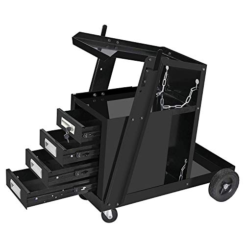 ZENY Portable Welding Welder Cart MIG TIG ARC Plasma Cutter Tank Storage Welding Cabinet 4 Drawers w/2 Safety Chains - 100 LB Capacity (#02)
