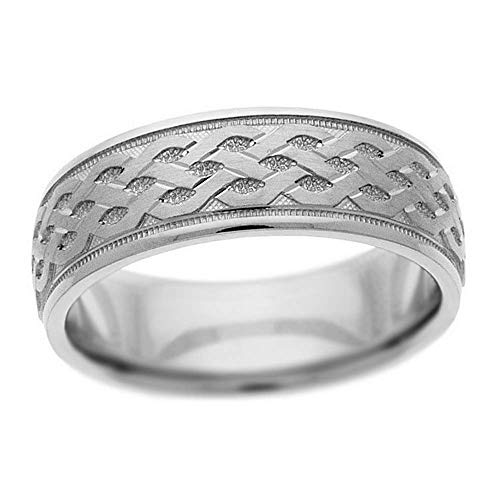 SB 14K White Gold 7mm Etched Wedding Band