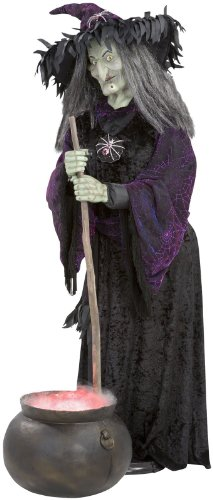 6ft Life Size Witch with Fogging Cauldron