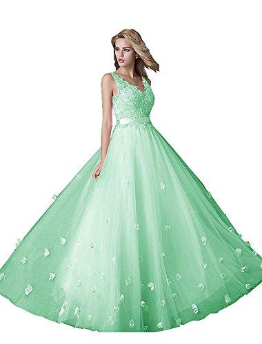 Sans A col ligne Fleurs manche Beauty Vert Longue Cordon V Double Robe serrage Emily de Clair Soire wB05qxqt
