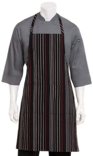 Chef Works Unisex Striped Bib Apron, Black W/White & Red, One Size