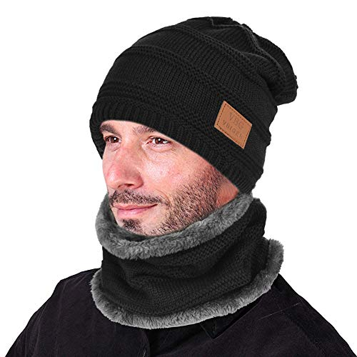 - VBIGER Beanie Hat Scarf Set Knit Hat Warm Thick Winter Hat For Men (New Black)