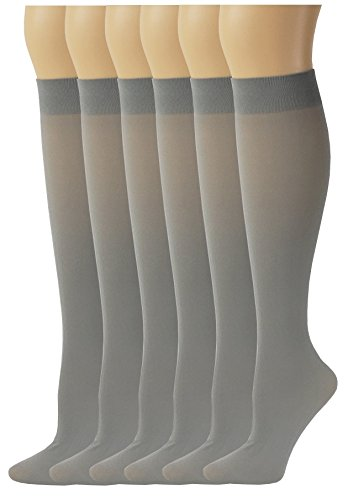 Lycra Opaque Stockings - Sumona 6 Pairs Women Opaque Spandex Knee High Trouser socks (9-11, Silver Grey)