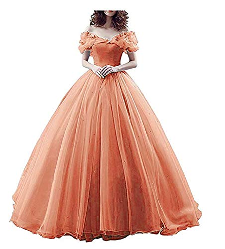 (Coral Butterfly Quinceanera Dress Off Shoulder 2019 Long Pageant Gowns Size)