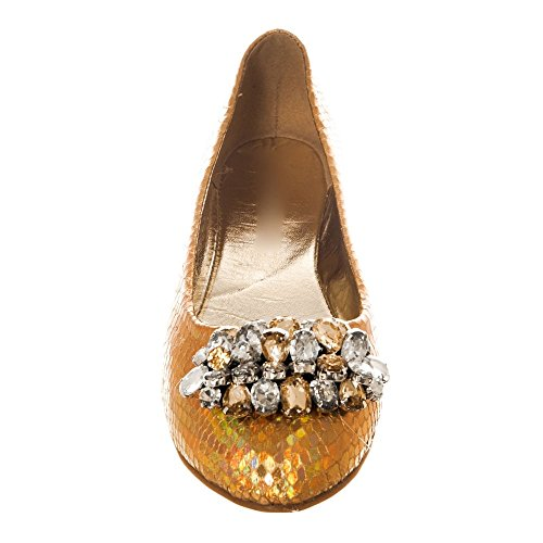 Womens Ladies Flat Slip on Ballerina Pump with Jewel Brooch Gold RvbdaNP4