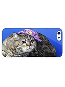 3d Full Wrap Case for iPhone 5/5s Animal Cat With A Hat58