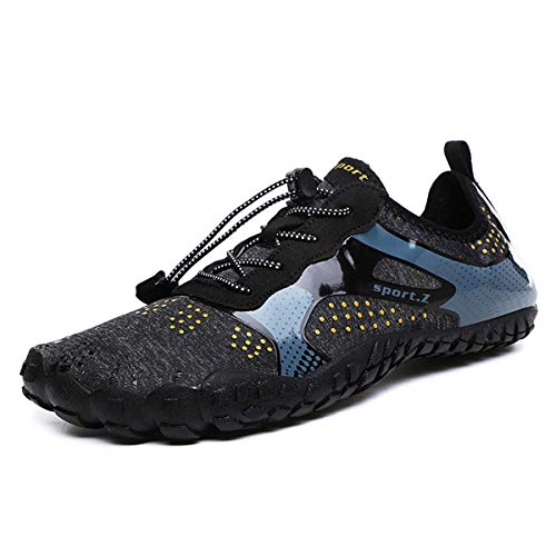 LIBINXIF Womens Mens Athletic Water Shoes Walking Creek Hiking Quick-Dry Aqua Pool Socks Barefoot for Outdoor Beach Swim Surf Yoga Black 43 (Best Shoes For Step Aerobics 2019)
