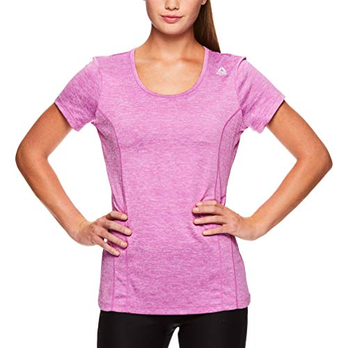 Reebok Women's Dynamic Fitted Performance Short Sleeve T-Shirt - Radiant Orchid Heather, Extra Small