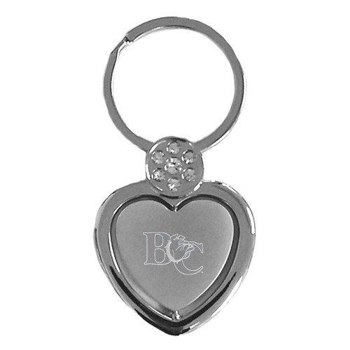 CollegeFanGear Barton Crystal Studded Heart Key Holder 'Official Logo Engraved' (Crystal Barton Heart)