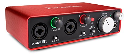 Voice Processing Card - Focusrite Scarlett 2i2 (2nd Gen) USB Audio Interface with Pro Tools  First, Red, 2i2 - 2 Mic Pres