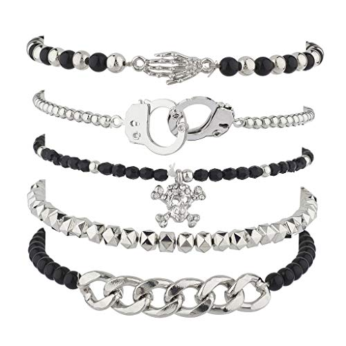 Lux Accessories Punk Rock Skulls BFF Best Friends Forever Arm Candy Set (5PC)