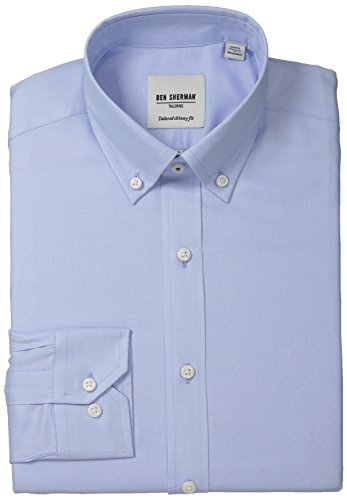 Ben Sherman Men's Slim Fit Button Down Collar Oxford Dress Shirt, Light Blue, 17