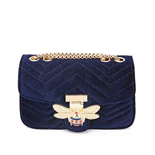 Women's Chain Crossbody Bags Thread Velvet Shoulder Bag Winter Bee Handbag Deep Blue