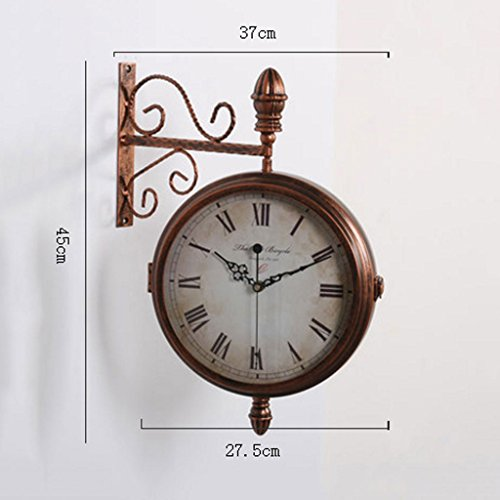 Meters European Iron Wall Wall Clocks Double Side Wall