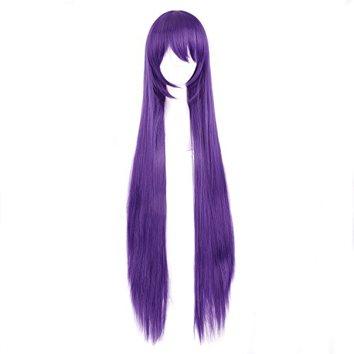 Purple Long Wig (MapofBeauty 100CM Dark Purple Can Tie Two Braids Cosplay Wigs)
