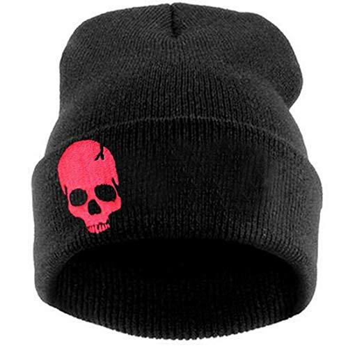 (LOKIDVE Men Women Winter Embroideried Cuff Beanie Hat Knit Skull Cap-Skull Red)