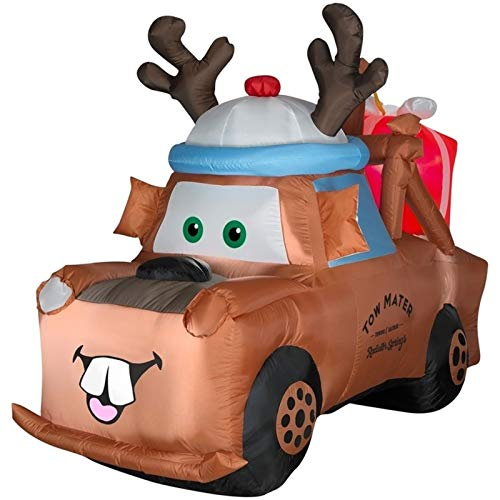 6' Airblown Lighted Mater with Reindeer Hat and