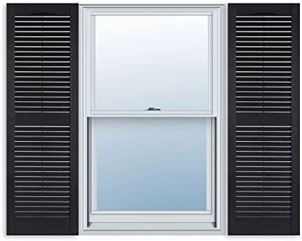 Amazon Com 15 Inch X 51 Inch Standard Louver Exterior Vinyl Window Shutters Black Pair Home Kitchen