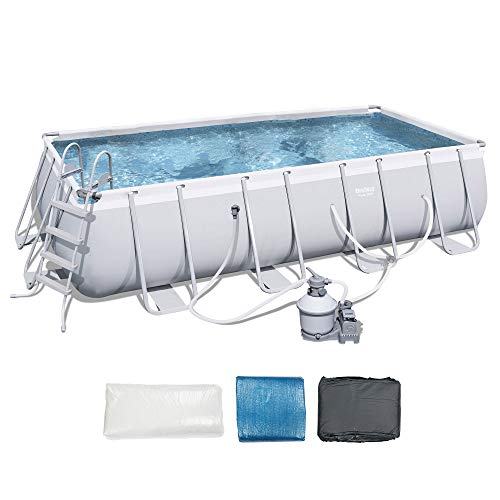Bestway 18 x 9 Foot Rectangular Frame Above Ground Pool Set with Ladder & Pump