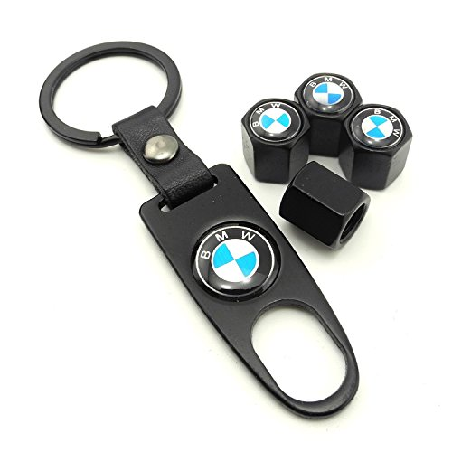Idoood Set Of 4 Car Tire Valve Stem Air Caps Cover   Keychain For Bmw