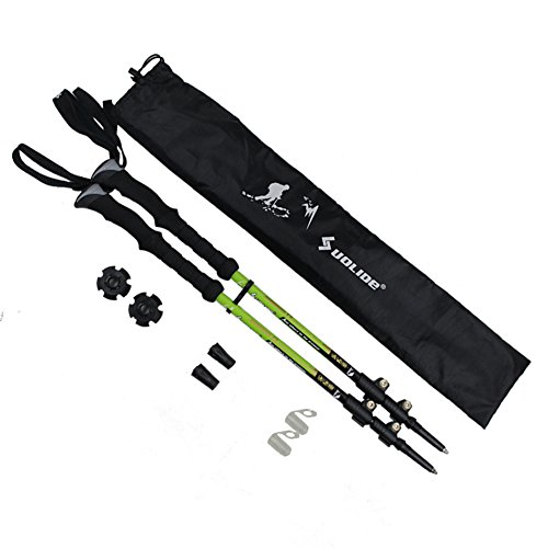 Travelsky Trekking Poles,Ultralight Double Locking,7075 Aluminum Alloy,Travel Hiking /Climbing Poles with Anti-Shock & Quick Lock Technology,Walking\running, 2-Pack (green)