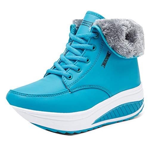 Cuñas Más Invierno Para Mujeres De Shoes Antideslizantes Terciopelo Nieve Azul Invierno Algodón Botas xtHx8Awq0