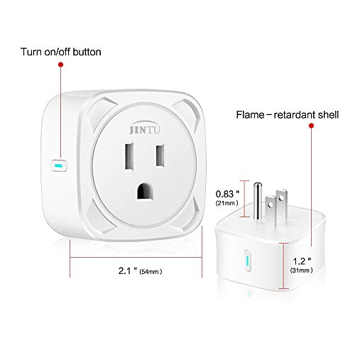 Smart Plug, JINTU Home Smart Outlet Work with Alexa Echo & Google for Voice Control, Wifi Plug 16A, Phone APP Remote Control with Timer Function, No Hub, ETL FCC Certified White (1)