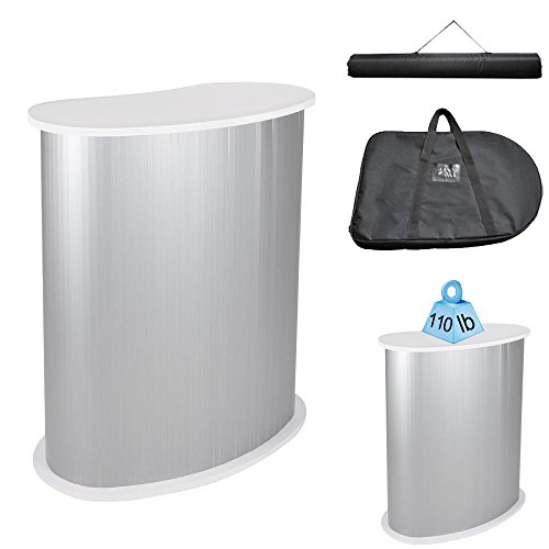 Yescom Portable Trade Show Podium Table Display Exhibition Counter Stand w/White Top Carrying Bag