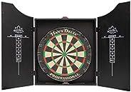 HAN'S DELTA Professional Bristle Dartboard Cabinet Set, Metal Corner Reinforcement, Regulation Steel Tip D