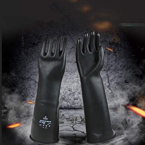 AMAZACER 手袋防汚アンチ化学的および防食保護作業手袋、ゴム工業酸やアルカリには、耐ブラック防食濃硫酸手袋長いセクションティ (Color : As Picture)