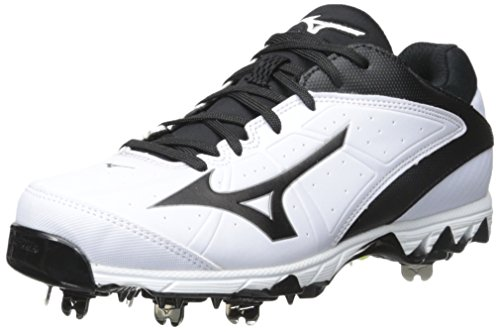 Mizuno Women's 9 Spike Swift 4 Fast Pitch Metal Softball Cleat, White/Black, 10.5 M (Wave Spike 9 Volleyball Shoes)